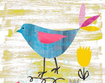 A4 Art Print- Kids Wall Art. Kitchen Picture. Blue Bird Tending to his Paper Garden. Art Print