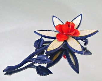 FALL SALE Vintage Brooch Mod Flower Power Red White and Blue Rose