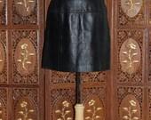 ON SALE VALERIE Stevens Petites  New Zealand Black Lambskin Leather Skirt
