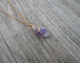 Wire Wrapped Purple Rough Stone Pendant
