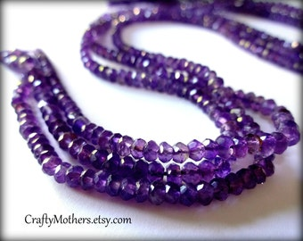 AAA Brazilian Medium Purple Amethyst Gemstone Faceted Rondelles, 4mm - 1/2 Strand (6.5 inches long)