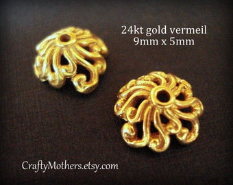 Take 15% off with 15OFF20, Set of 2 Bali 24kt Gold Vermeil Bead Caps, 9mm x 5mm (bright gold)