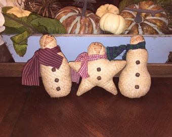 Primitive Christmas Snowman Ornaments Ornie Bowl Fillers