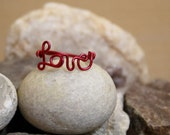 Minimalist Statement Ring - Red Wire Love Ring