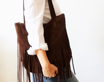 Fringes suede BROWN Leather tote bag - Shoulder Bag -Every day leather bag - Women bag