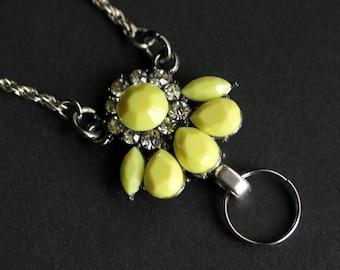 Yellow Lanyard. Badge Necklace. Silver Badge Holder. Rhinestone Lanyard. Id Lanyard. Yellow Badge Lanyard. Handmade Lanyard.