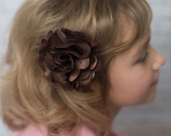 Brown flower clip, girl hair accessories, wedding flower girl birthday gift, bridesmaid accessories, mesh flower clip, girl hair clip, baby