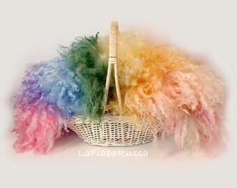 custom made wool curly felt newborn blanket basket filler, newborn props, fur rug, basket filler, wool fluff, NO sheepskin rug,