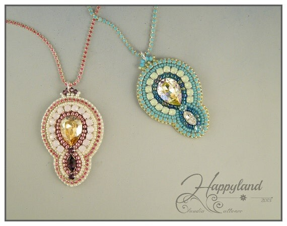 Dalila pendant bead embroidery kit and pattern