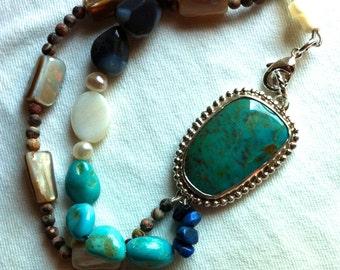 Turquoise and Stone Bead & Bracelet