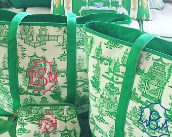 Monogram chinoiserie tote bag