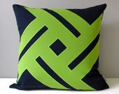 NAVY Blue & Lime Green Outdoor Pillow Cover, Modern Geometric Pinwheel, Decorative Cushion Cover, Sunbrella Throw Pillow Case, Mazizmuse