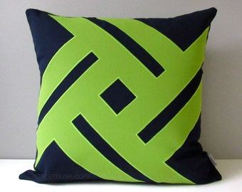 NAVY Blue & Lime Green Outdoor Pillow Cover, Modern Geometric Throw Pillow, Decorative Pillow Case, Sunbrella Cushion Cover, Pinwheel
