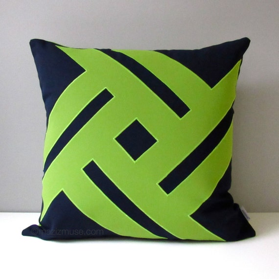 Lime Green And Blue Throw Pillows : Items similar to NAVY Blue & Lime Green Outdoor Pillow Cover, Modern Geometric Throw Pillow ...