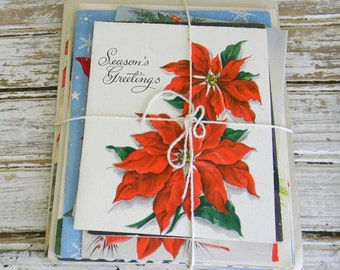 Vintage Christmas Cards, Mixed Lot Christmas Cards, Red Poinsettia Cards, DIY Paper Supply, Red and White, Vintage Greeting Cards, SALE