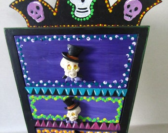 Hand painted and embellished skeleton chest jewelry box