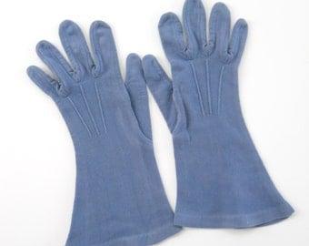 Vintage Blue Ladies Hansen Gloves • Vintage Faded Soft Mid Length Gloves • Mid Century Blue Dress Gloves
