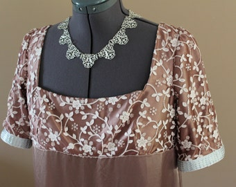 "Bust 47"" - 54"" Mocha Regency Dress Victorian Renaissance Gown Medieval Jane Austen"