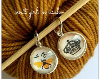 Queen Bee Long Live the Queen Stitch Markers (Set of 2)