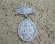 Extremely Rare Large Antique Catholic Religious Christian Mothers medal Pin, St. Joseph Powerful Intercessor Pray for us and Our Children