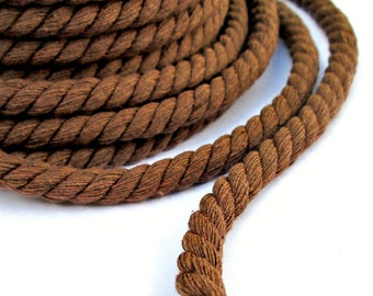Twisted cotton rope 8mm, twisted cotton cord 8mm, twisted cord rope, cotton fiber rope, cotton rope for crafts, brown cotton rope, 2m