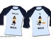 Twin halloween shirt - Toddler Witch shirt - cotton
