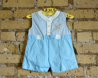 Baby Size 6-9M One-Piece Romper 1980s Like-New / Blue White Cotton, Baseball Bat Ball Embroidery, Dry Panty / Vintage Cradle Togs