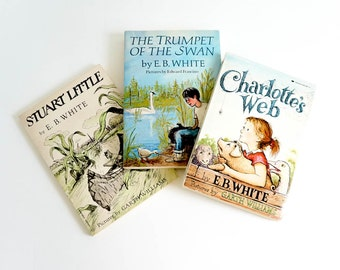 Vintage 1980s Childrens Book Set / E.B. White Classic Stories VGC Pb / Charlotte's Web, Stuart Little, and Trumpet of the Swan