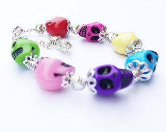 Sugar Skulls Day of the Dead Halloween Bracelet