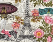Wild About Paris Eclectic Bohemian Fabric Flying Zebras Metro Station Eiffel Tower Pink Roses TT