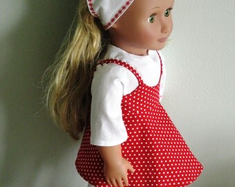 "18"" Doll (AG) 4 Piece Spring to Summer Outfit Red & White"