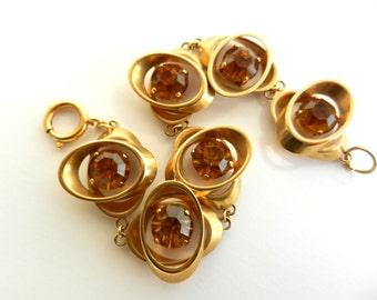 1960 double oval links with big amber crystal bracelet - gold finish and bright light - Elegant  6 links bracelet - Art.537/4 -
