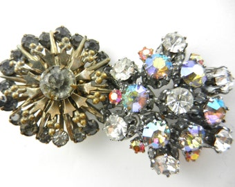 1950s and 1930s  BROOCHES/PINS - two beautiful Austrian top quality rhinestones brooches  - lovely couple collector pins - 2 pcs--art.307/4-