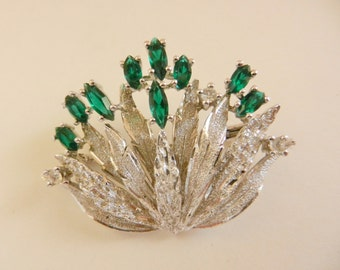 High End 40s Foliage  925 sterling  brooch shine brightly with unfoiled emerald green stones & small diamond ice fire crystals--art.312/4 -