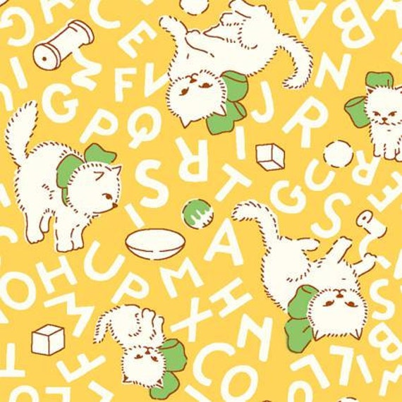 Flannel fabric yellow flannel cats alphabet cats quilting for Baby fabric by the yard