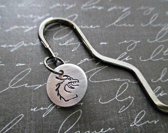 silver squiggle shepard's hook bookmark with hand stamped dragon