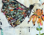 butterfly art reproduction, girls room wall art,  canvas giclee reproduction, teals and oranges, fine art, flower