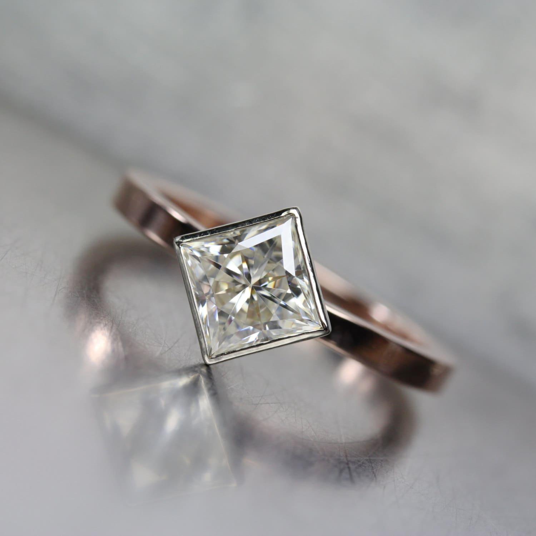 Modern Kite Set Princess Cut Moissanite Engagement Ring 14K