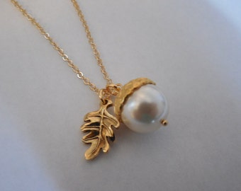 14k Gold Filled  - creamy pearl acorn necklace