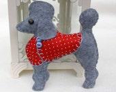 Poodle Christmas ornament, Felt dog ornament, Poodle decoration, Dog Christmas Ornament, Handmade felt Poodle, Little felt dog in coat, CIJ