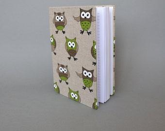 Writing Journal /  Handmade Sketchbook / Handmade Journal / Unique Journal /  Notebook /  Diary /  A5. 8 x 6 inch from linen Owls