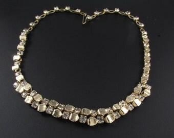 Rhinestone Necklace, Rhinestone Leaf Necklace, Gold Necklace, Choker Necklace, Bridal Necklace, Wedding Jewelry