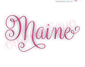 Embroitique Maine Calligraphy Fancy Script USA United States Machine Embroidery Design - Instant Download
