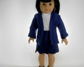 18 inch doll clothes made to fit 18 inch dolls such as American Girl, School Uniform 3 piece set, skirt, top and Cardigan, 01-0814