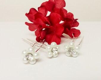 White Pearl Hair Pins - Set of 3 Bridal Hair Pins - Rhinestone Flower Girl Hair Accessories - Wedding Hair Pins