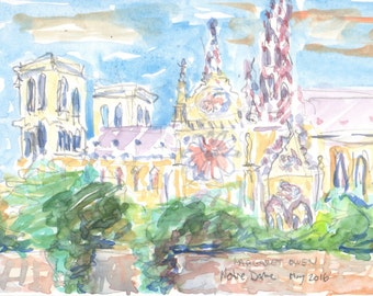 Notre Dame de Paris watercolor sketch