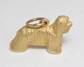 Dog fanciers estate 14k gold Komondor or Bearded collie shih tzu dog puppy breed bracelet charm necklace pendant