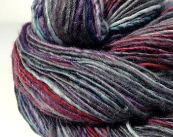 """Handspun Wool Yarn, Hand Dyed Yarn, """"Alley"""" Single Ply BFL Yarn"""