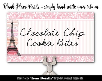 10 Flat Style Place Cards, Name Cards, Buffet Food Labels, Table Signs, French, Paris, Eiffel Tower, Macarons, Wedding, Shower, Birthday