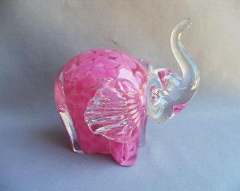 Hand Blown  Art Glass Elephant Figurine - Pink color